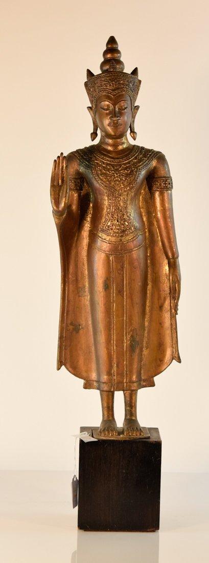 Antique Burmese Bronze Standing Buddha