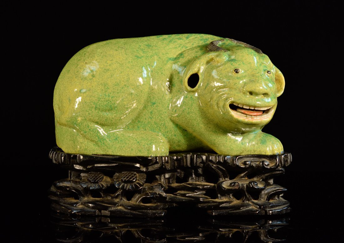 Chinese Green Glazed Porcelain Foolion with Hardwood