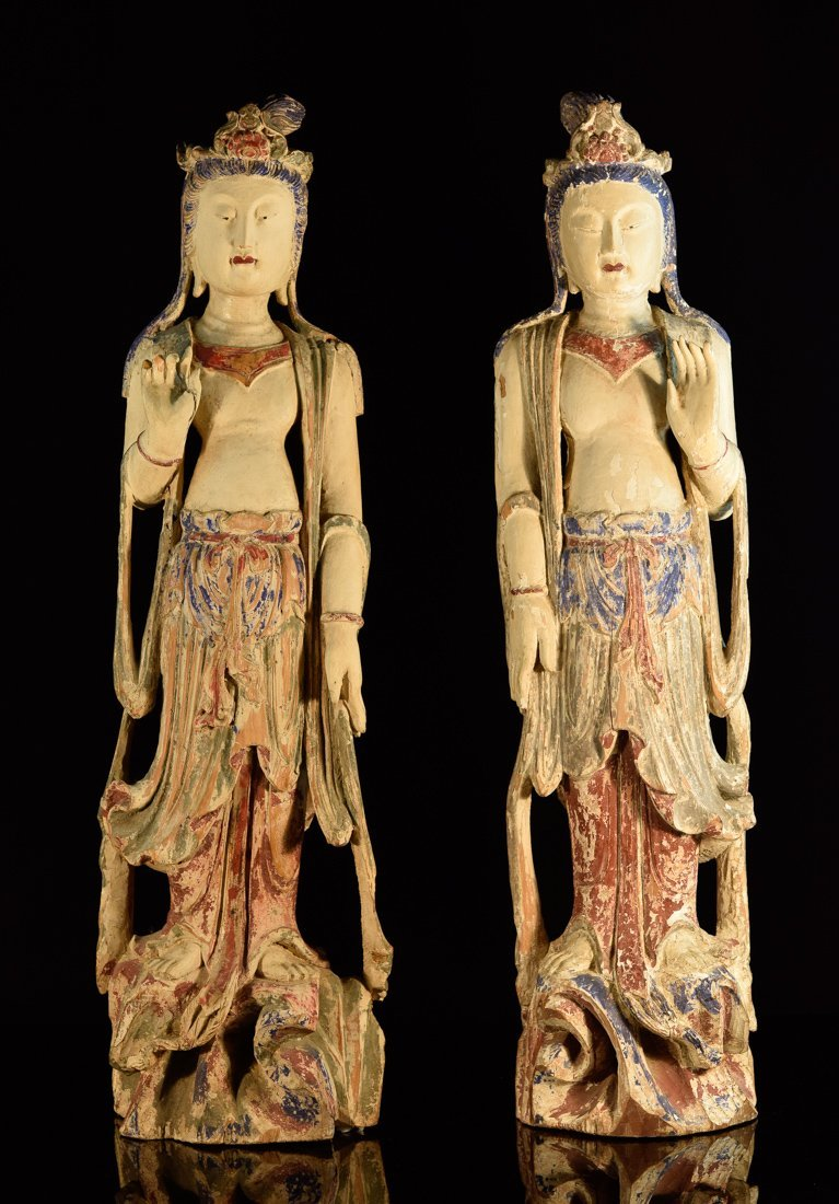 Pair Chinese Wood Kuanyin with Polychrome Pigment
