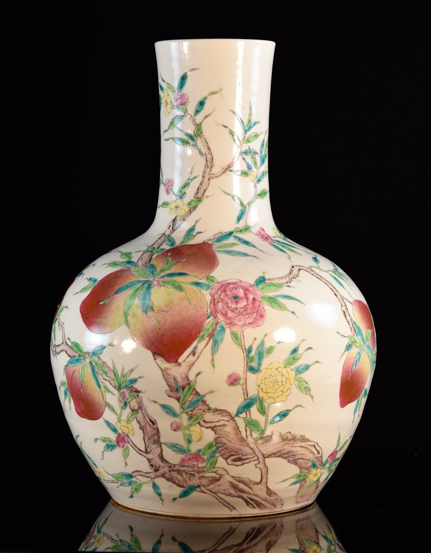 Chinese Large Famille Rose Peach Vase