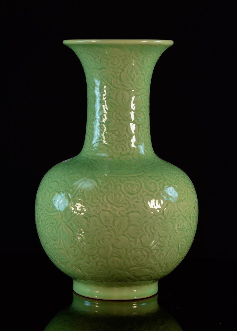 Chinese Celadon Porcelain Vase with Carved Floral