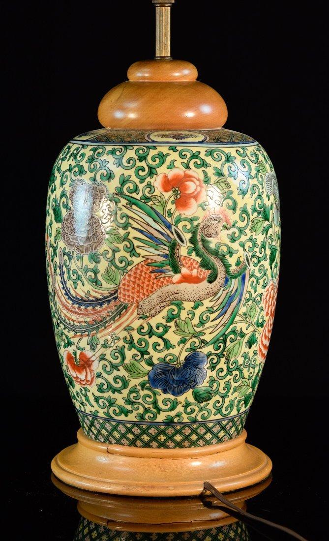 Chinese Porcelain Lamp with Wucai Pheonix Scene