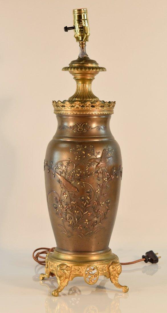 Japanese Mixed Metal Vase Mounted as a Lamp