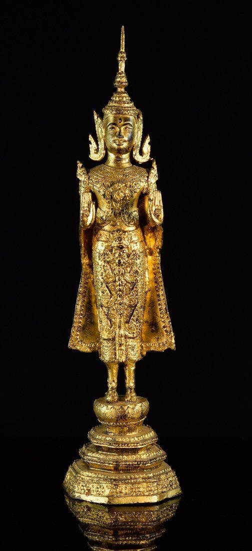 Antique Thai Bronze Standing Buddha