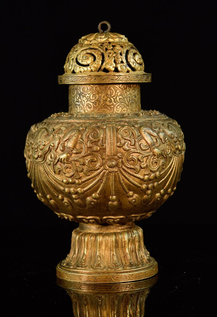Tibetan Gilt Copper Vase for Ceremonial Occasion
