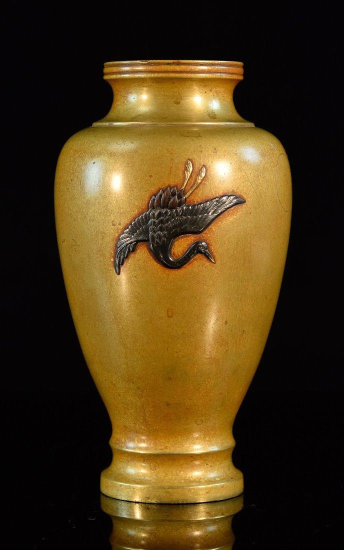Japanese Mixed Metal Vase with Crane Scene