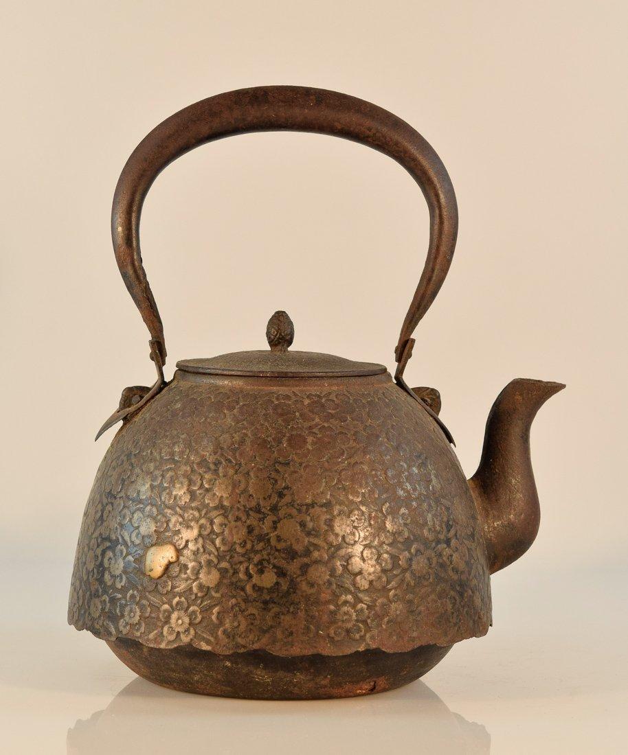 Japanese Iron Teapot with Plum Scene