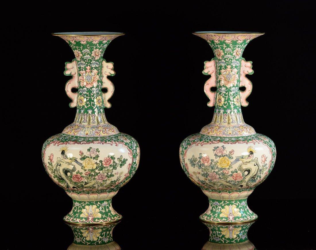 Pair Chinese Canton Enamle Vases