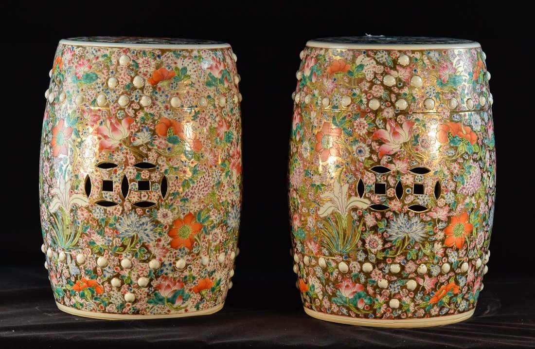 Pair Chinese Porcelain Garden Seat with Milifloral
