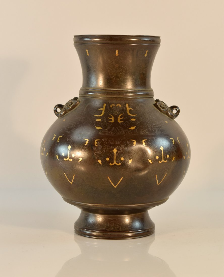 Chinese Bronze Vase with Gold Silver Inlay