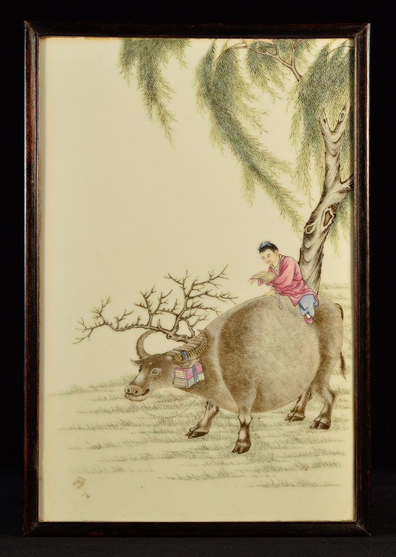 Chinese Republic Porcelain Tile - Boy Riding Ox Scene