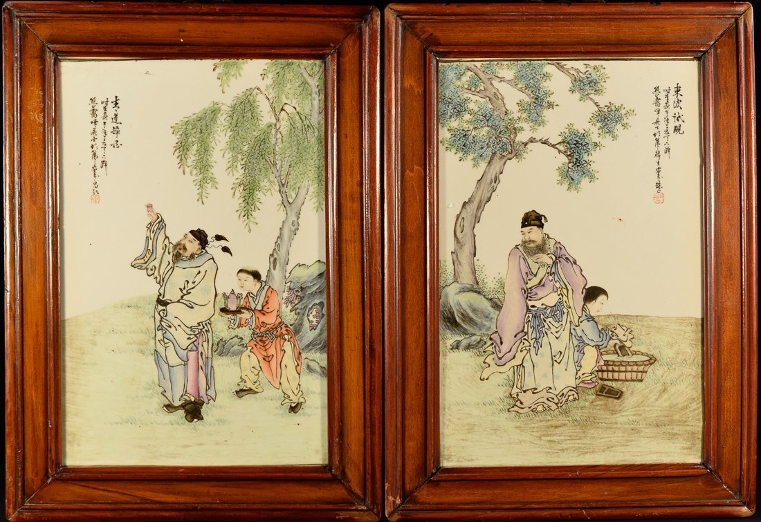 Pair Chinese Porcelain Plaques with Scholar Scenes