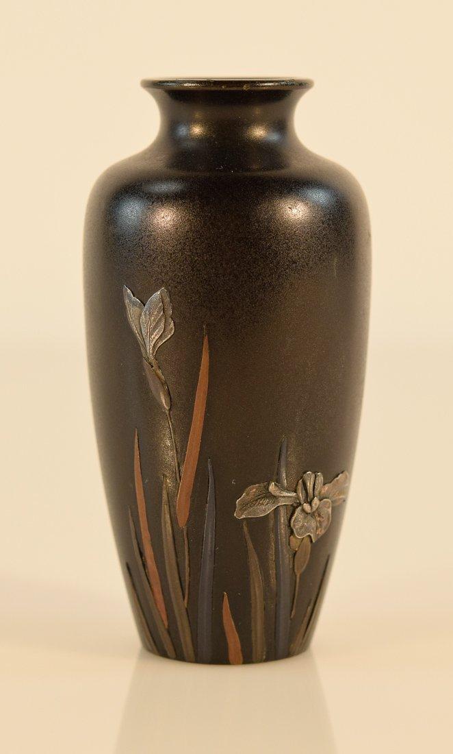 Japanese Mixed Metal Bronze Vase with Iris Motif