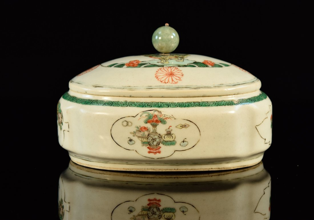 Chinese Export Porcelain Bowl with Jadeite Finial