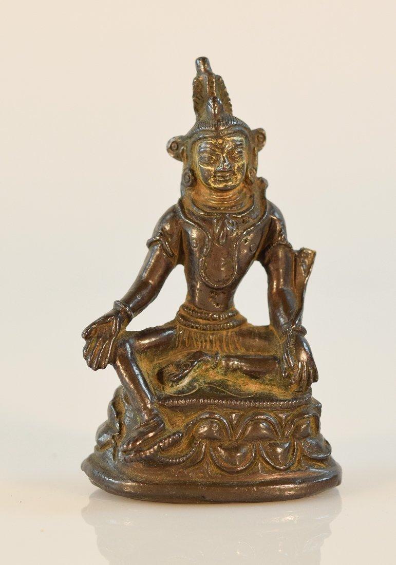 Tibetan Nepal Bronze Seated Buddha