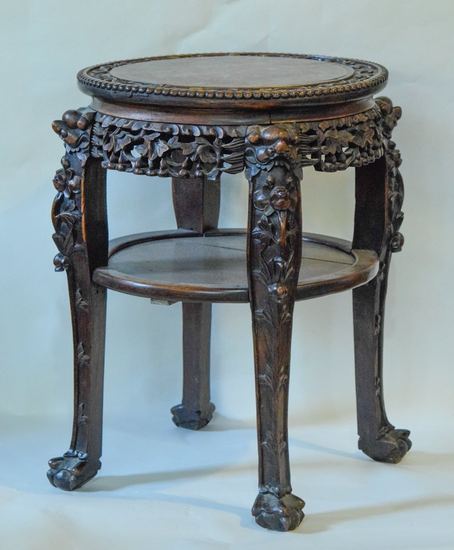 Chinese Rosewood Stand with Marble Top