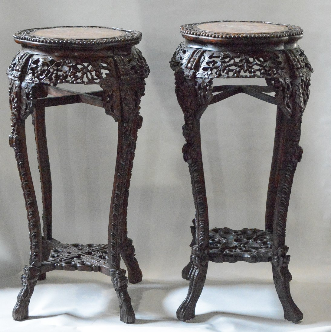 Two Chinese Rosewood Stand with Marble Top