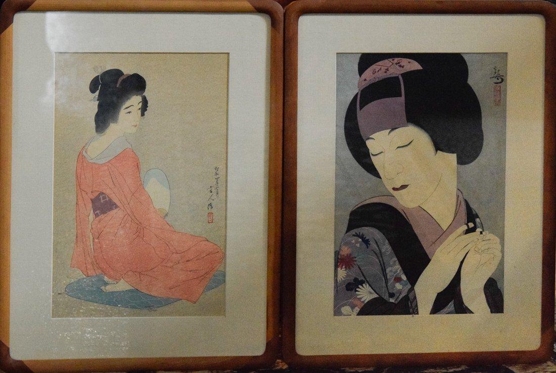 Two Japanese Woodblock Pring - Geisha