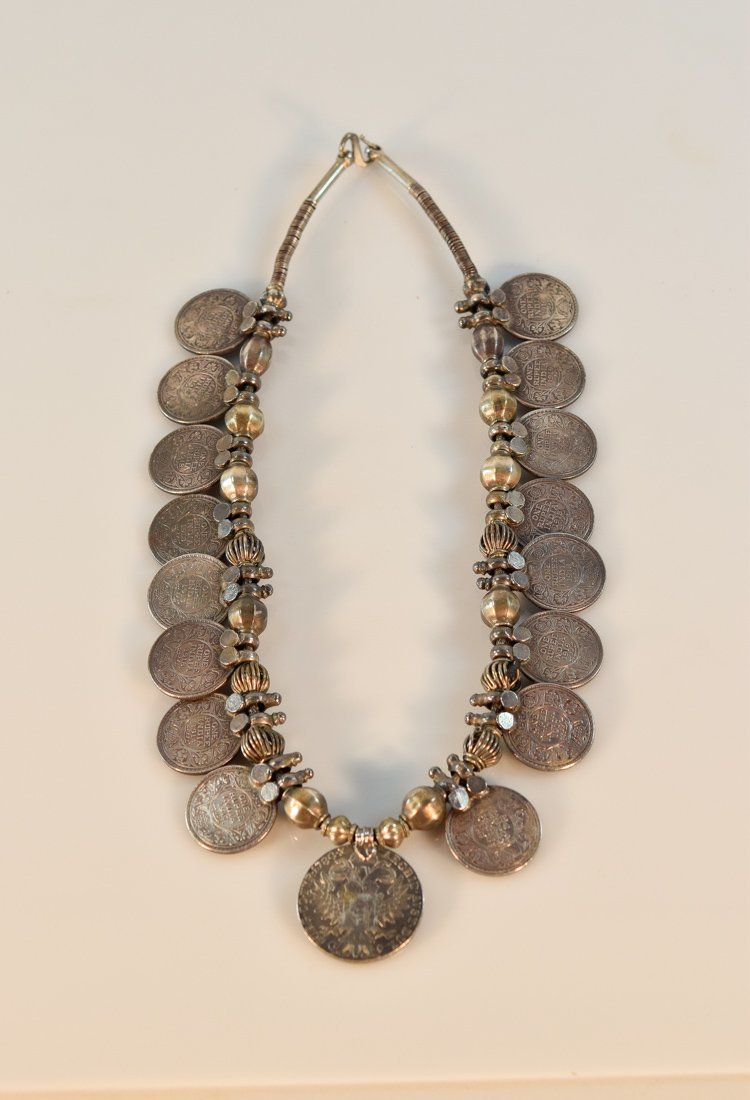 Silver Chain Necklace with Indian Coins