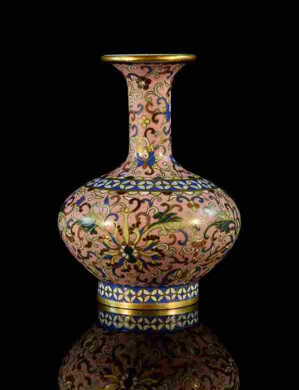 Chinese CloisonnŽ Pink Lotus Vase