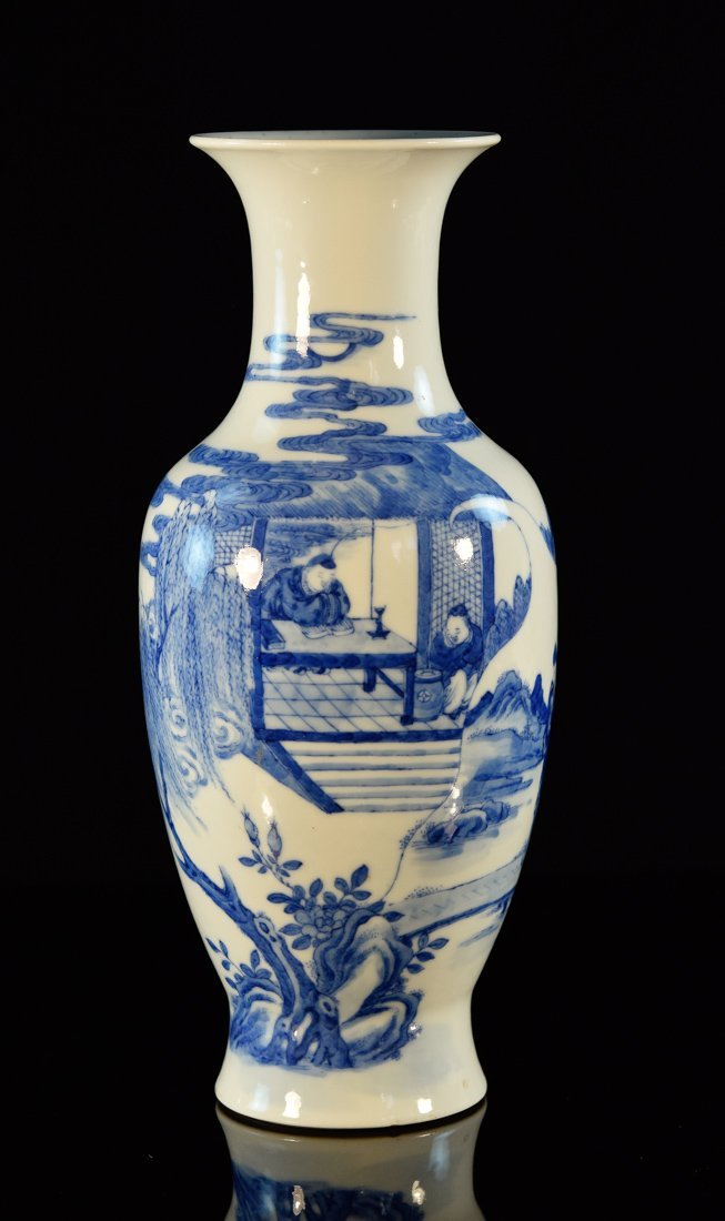 Chinese Blue White Porcelain Vase with Figurine Scene