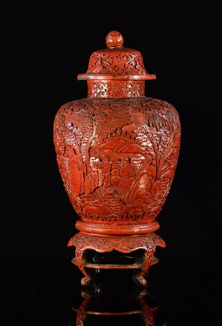 Chinese Carved Cinnebar Cover Jar with Stand