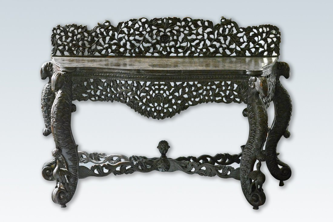 Anglo Indian Carved Wood Presentation Table