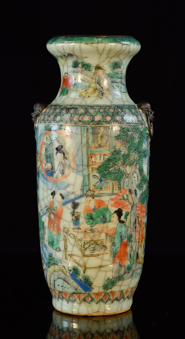 Chinese Porcelain Vase with Crackle Scene
