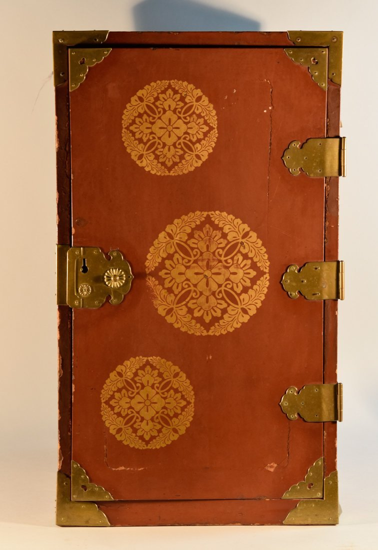 Unusual Japanese Lacquer Chest with Red Color