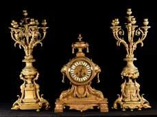 Large Set of French Gilt Bronze Clock