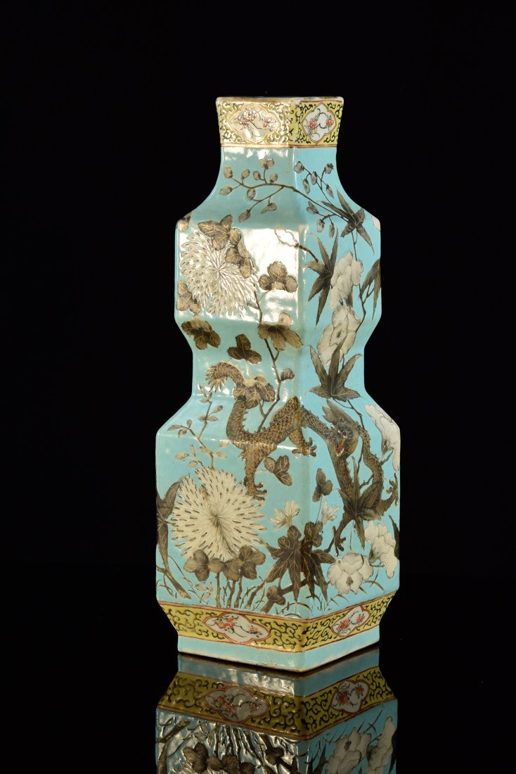 Chinese Famille Rose Porcelain Square Double Gourd Vase