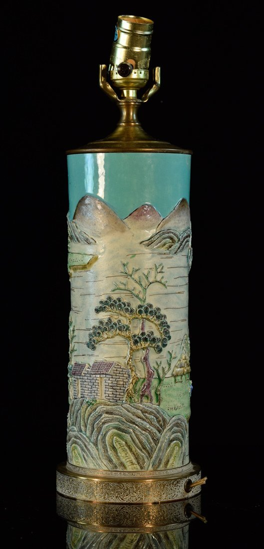 Chinese Porcelain Vase with Raised Landscape Scene
