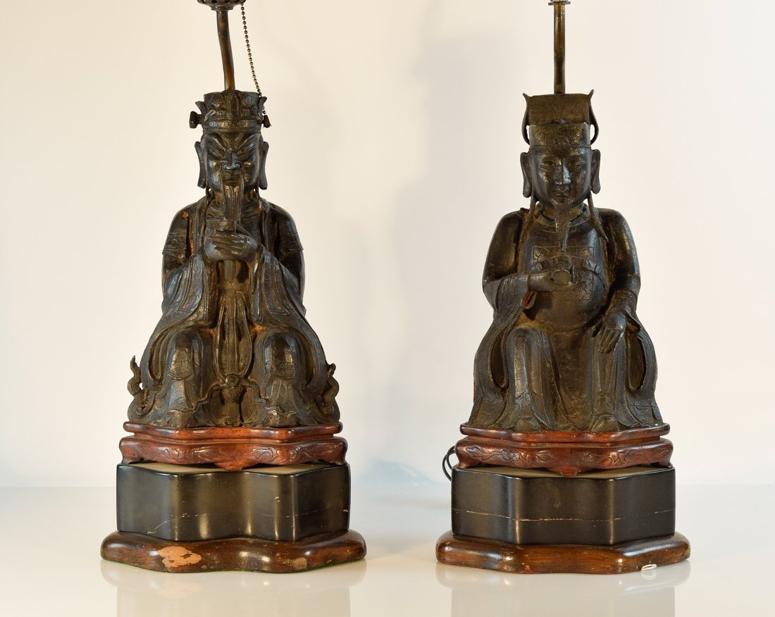 Pair Chinese Ming Bronze Seated Officer