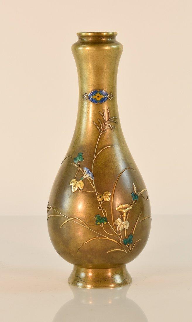 Japanese Mixed Metal Bronze Vase with Enamle
