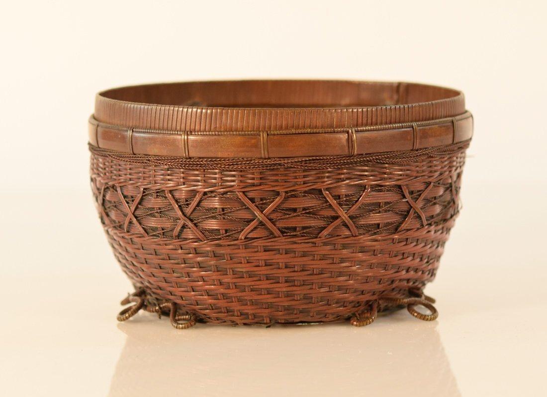 Japanese Bronze Woven Bowl