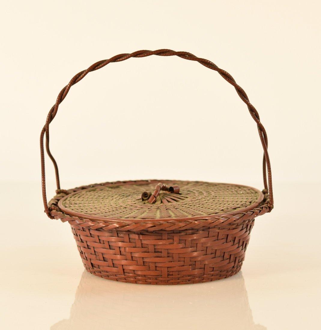 Japanese Bronze Woven Basket