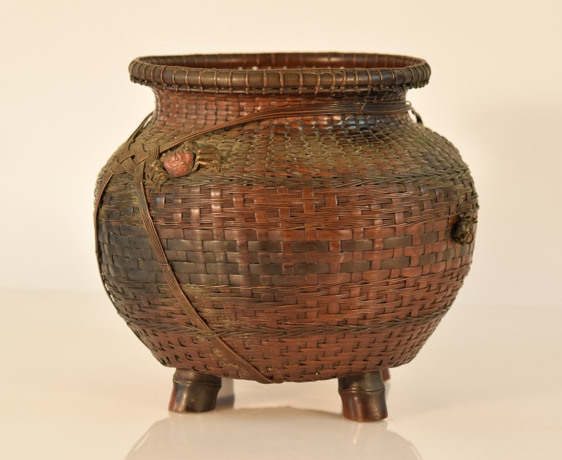 Japanese Bronze Woven Vase with Crab and Fish Décor