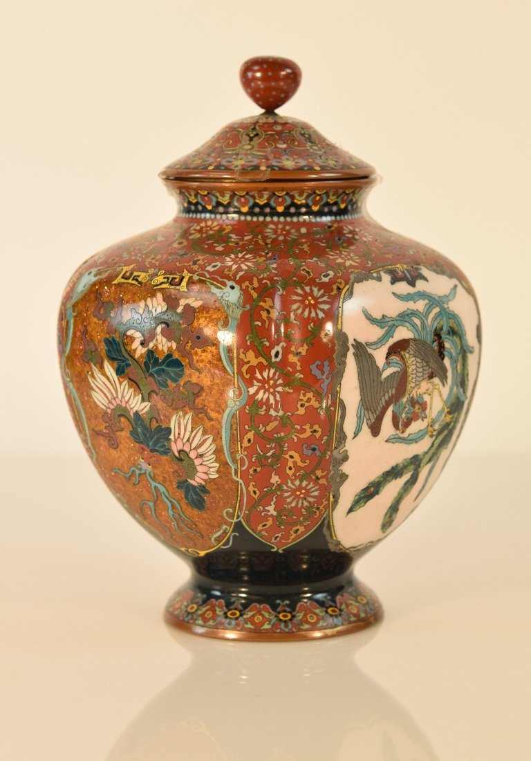 Japanese Cloisonné Koro with Goldstone