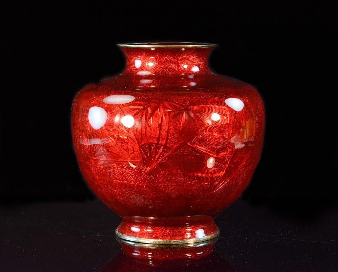 Large Japanese Pigeon Blood Cloisonné Vase