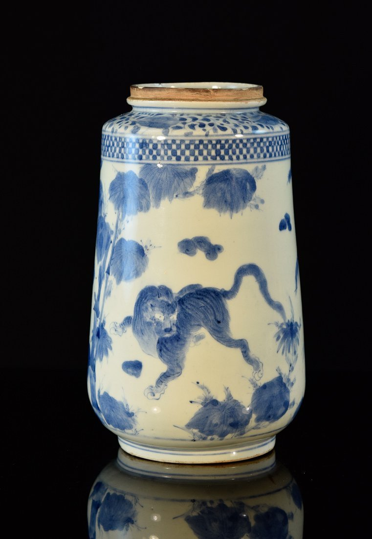 Japanese Blue White Porcelain Vase - Tiger 18th cen