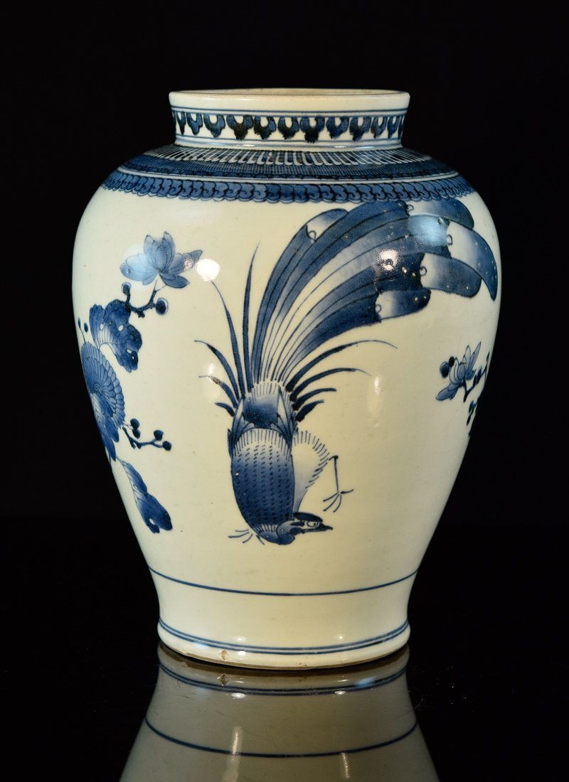 Japanese Blue White Porcelain Vase - Floral Bird