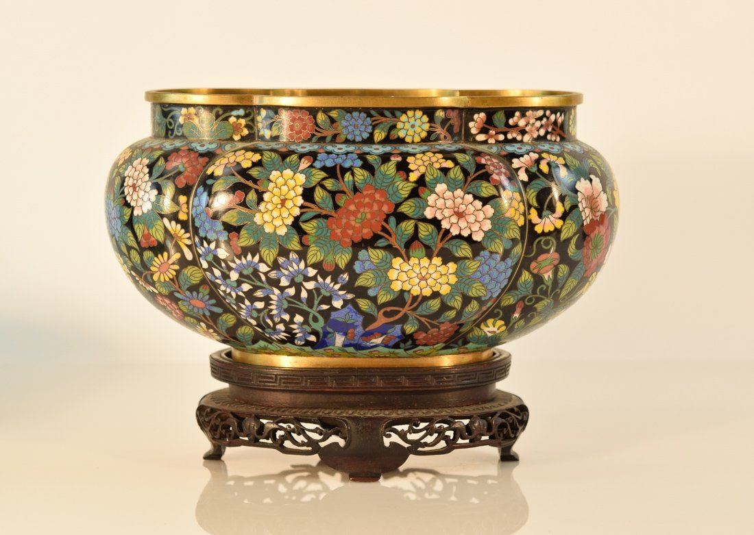 Chinese Cloisonné Lobbed Bowl with Stand