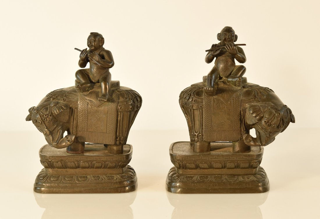 Pair Chinese Bronze Boy on Elephant