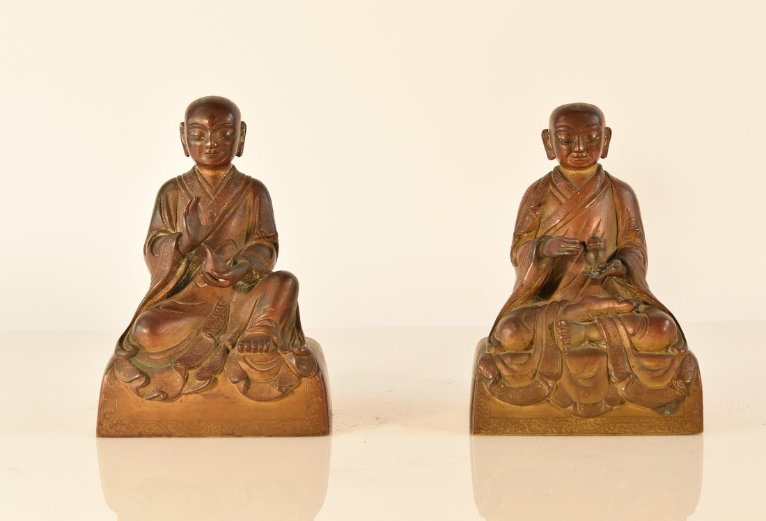 Pair Chinese Bronze Seated Lohan on Square Base 18th