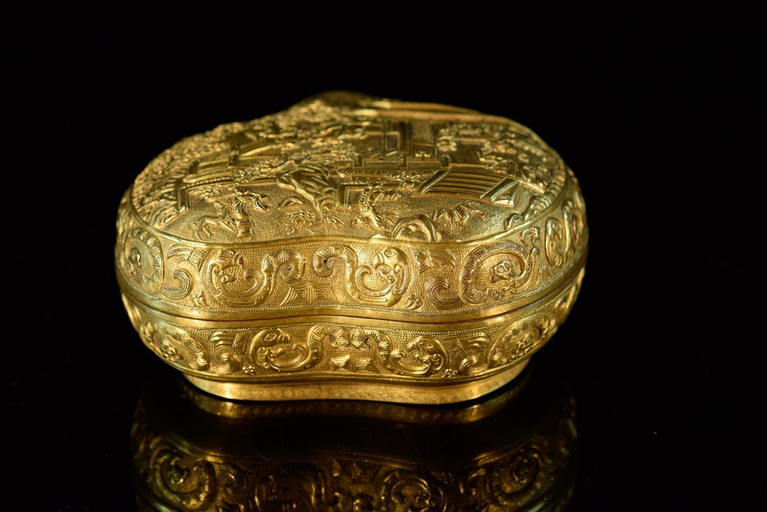 Chinese Gilt Bronze Peach Formed Box with Figural Scene