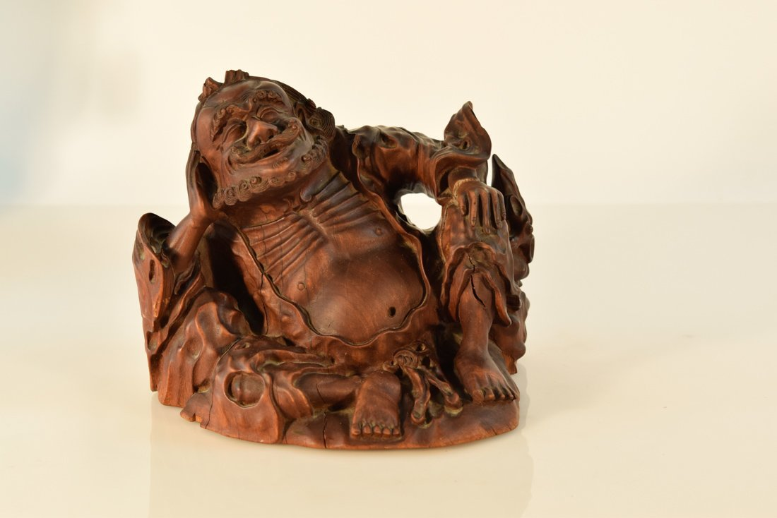 Chinese Hardwood Carving of a Immortal