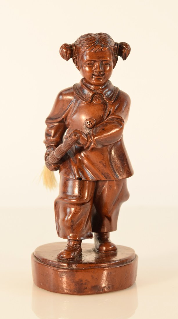 Chinese Boxwood Carving of a Culture Revolution Girl