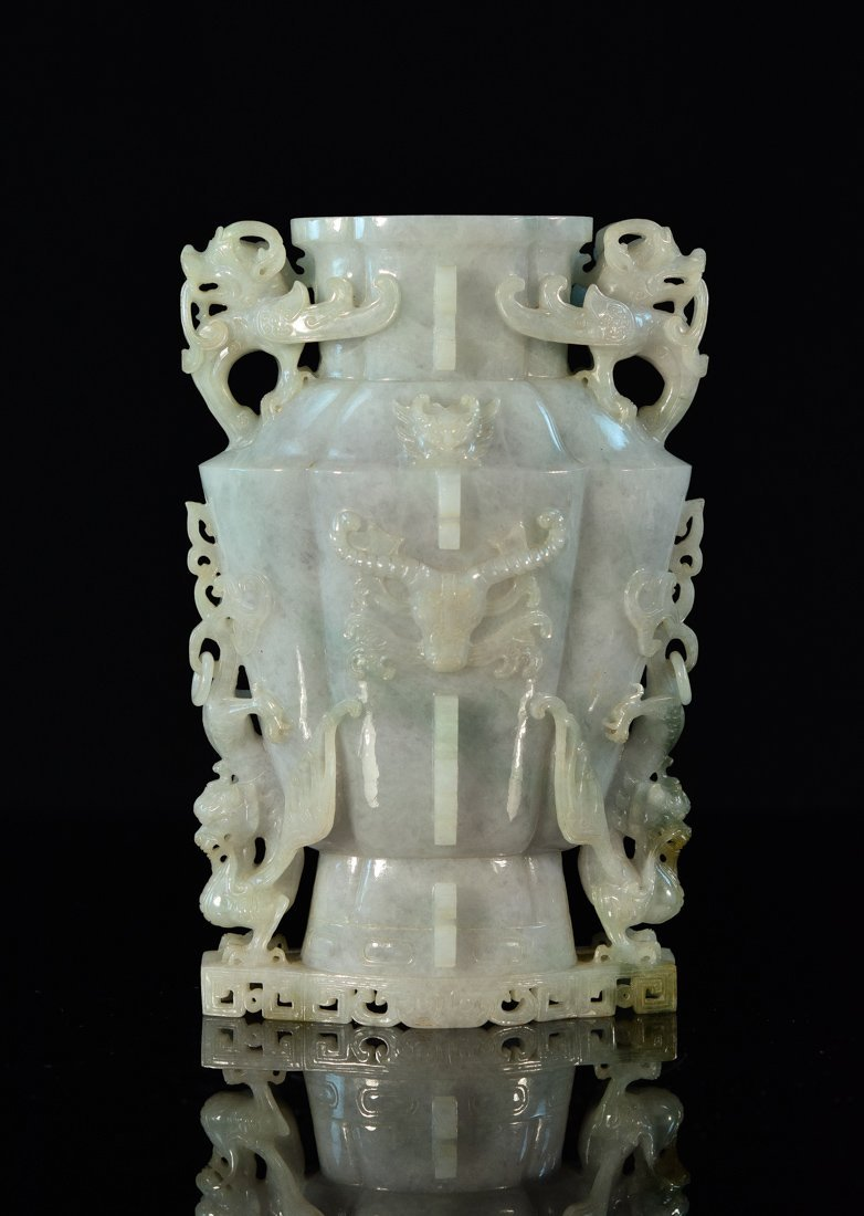 Chinese Jadeite Vase of Archaic Form