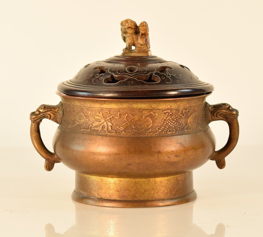 Chinese Bronze Censer with Wood Cover