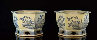 Pair Chinese Blue White Porcelain Planters